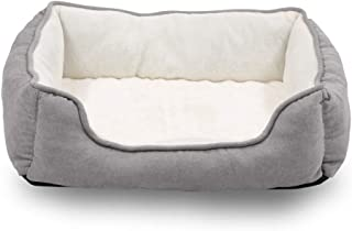 Long Rich Reversible Rectangle Pet Bed Dog Bed with Dog Paw Embroidery,Medium size, by Happycare Textiles