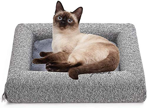 Cat Bed Plush Soft Warm Pet Beds Mat for Cats Small Dogs Washable Mattress with Removable Cushion-Grey