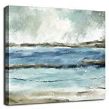 Abstract Wall Art Blue Ocean Waves Abstract Canvas Art Modern Canvas Pictures Contemporary Canvas Artwork for Bedroom Living Room Bathroom Kitchen Office Home Wall Decor Framed Ready to Hang 16' x 16'