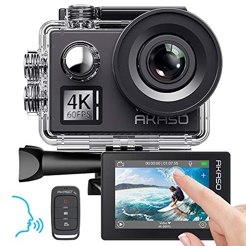 AKASO Action Cam 4K/60fps/Action Camera 20MP WiFi met touchscreen EIS 40M onderwater camera V50 Elite met 8X Zoom Spraakbediening Afstandsbediening Accessoires Kit Sportcamera, V50 Elite, V50 Elite