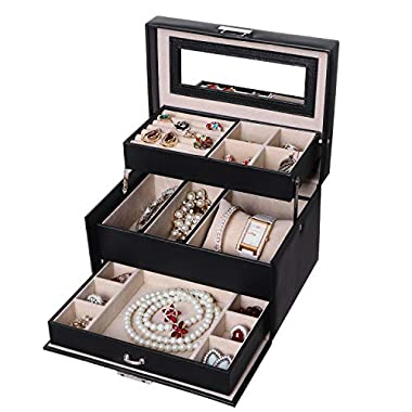 BEWISHOME Jewelry Box with Lock 3 Layers Jewelry Display Storage Case Earring Ring Necklace Holder Organizer Portable Travel Case for Women Girls - Black Faux Leather SSH77B