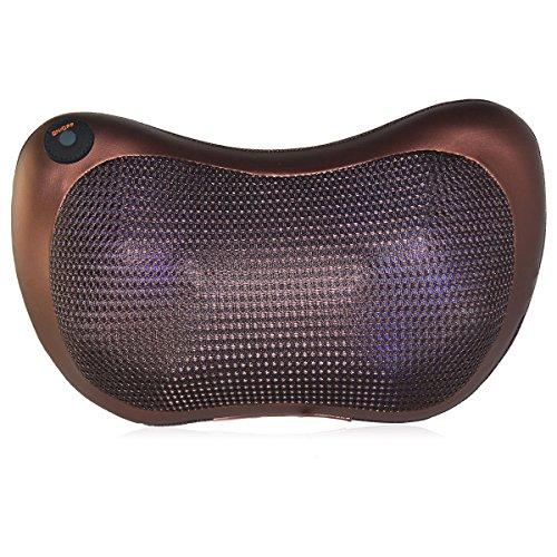 Eléctrico Cuello Espalda Hombro Shiatsu Almohada Masajeador para Hogar, Oficina y Coches (6 Rodillos Térmicos Infrarrojos)