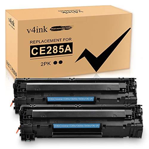 V4INK New Compatible Toner Cartridge Replacement for HP 85A CE285A 35A CB435A 36A CB436A Canon 125 for HP LaserJet P1102w M1212NF M1217nfw P1505 M1522nf P1109w P1006 Canon MF3010 LBP6000, Black 2-Pack