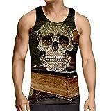 Hiser sans Manches Homme Débardeur, Respirant 3D Imprimé Muscle Tank Top, T-Shirt Sleeveless Débardeurs pour Homme Garçon Workout Musculation Exercising (Crâne Brun,2XL)
