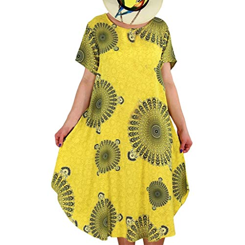 Lulupi Damen Leinenkleid große größen Kurzarm Geblümtes Kleid Knielang Sommerkleid Tunikakleid Bohemian Tunika Strandkleid Freizeitkleid mit Taschen