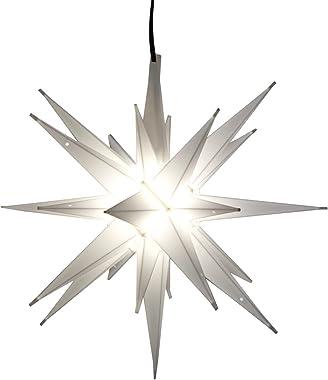 "Elf Logic - 12"" LED Moravian Star Tree Topper - Bright White 3D Lighted Christmas Star Tree Topper - Use as Advent Star,"