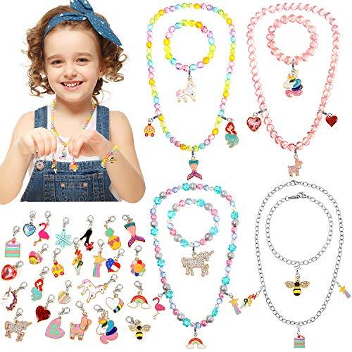 Tacobear Charm Armband Halskette Mädchen Bettelarmband Freundschaftsarmband Perlenarmband DIY Halskette Schmuck Bastelset Mitgebsel Kindergeburtstag für Kinder Mädchen