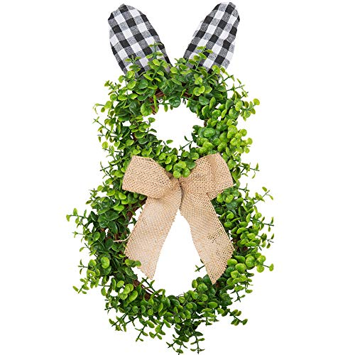 VGIA 16 Inch Artificial Easter Wreath Bunny Wreath Door Wreath with Burlap Bow for Home and Wall Decorations with Green Leaves for Spring Decorations