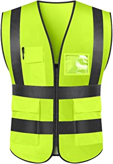 WELLDOING High Visibility Reflective Safety Vest with Multi Pockets Zipper Front for Men & Women, Construction, Crossing Guard, Road, Driver, Night Work, Security, Meets ANSI/ENISO (xl, Neon Yellow)