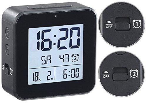 infactory Wecker 2weckzeiten: Funkwecker mit 2 Weckzeiten, Hygro-/Thermometer & Lichtsensor, schwarz (Funk Wecker mit Zwei Weckzeiten)