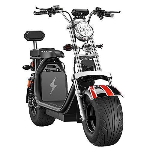DOS Moto Electrica Scooter Ciclomotor Electrico de 1500w bateria 60v 20Ah Patinete Bici,Black
