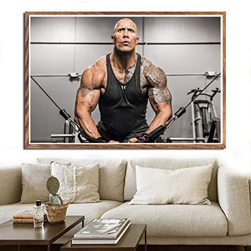 NOVELOVE Workout Fitness Dwayne Johnson Impresión de la Lona del Cartel HD Pintura Arte de la Pared Fotos Bar Mural Regalo Decoración para el hogar (50 * 70 cm)Sin Marco