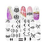 Calcomanías de uñas 3D Calcomanías de calcomanías de transferencia de adhesivo Flor Plantas tropicales Imagen Accesorios de arte de uñas Decoraciones de calcomanías-1-