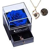Rosa Real preservada con Collar I Love You Caja de Regalo en 100 Idiomas, Rosa eterna para el día de San Valentín, día de la Madre, Aniversario de Bodas, Regalo de cumpleaños para Ella - Azul