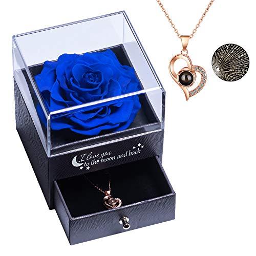 Vera Rosa eterna con Ti Amo Confezione Regalo Collana per San Valentino Festa della Mamma Anniversario Matrimonio Regali romantici per lei, Blu