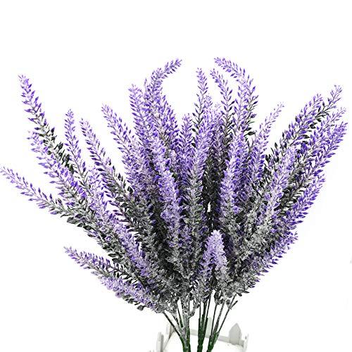 SJUNJIE 4 Paquete de Flores Artificiales de Lavanda Ramo Planta de Lavanda Púrpura de Seda Falsa para Decoración del Hogar Casa Jardín Fiesta Boda Patio Mesa Balcón
