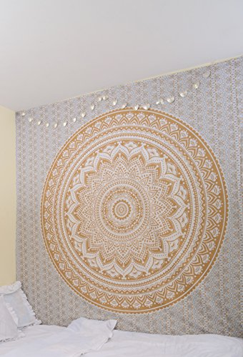 RawyalCrafts Gold Ombre (D) Mandala Wandteppich, Baumwolle, 84x94Inches