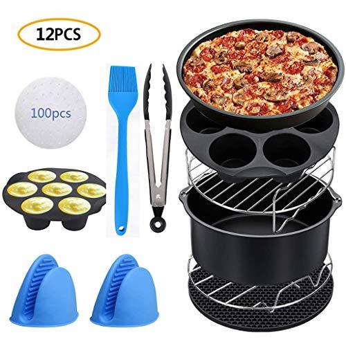 12-teiliges Fritteusen-Zubehör-Set, 15,2 cm, antihaftbeschichtet, für Kuchen/Pizza, inklusive Metallständer, Silikon-Matte, Muffin-Becher, Handschuhe