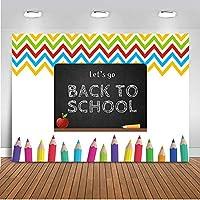 写真装飾バナー 学校の黒板新聞に戻りましょう ブースの背景の小道具 多色鉛筆 バックグラウンドシュートビニール 現代の