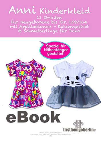 ANNI Kinderkleid Kleid Sommerkleid Babykleid Raglankleid 44-164 - Ratz Fatz nähen & applizieren (Katze) mit Schnittmuster: Schnittmuster zum Sofort-Download mit sehr ausführlicher Nähanleitung