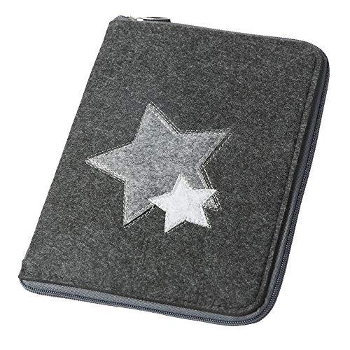 Mom's Organizer 'Sterne' mit rundum Reißverschluss für Mutterpass & U-Heft dunkelgrau, Farbe wählbar) | Filz Hülle in A5 als Uheft- und Mutterpasshülle