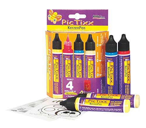 Kreul 49790 - PicTixx KerzenPen 4er Set, Farbe auf Basis von Flüssigwachs, zum Beschriften, Verzieren und Bemalen von Kerzen, mit feiner Malspitze, 4 Farben mit 29 ml, Wachsfolie und Vorlage