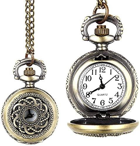DNGDD Reloj de Bolsillo de Cuarzo Vintage a la Moda, aleación ahuecada con Flores, Mujeres, niñas, suéter, Cadena, Collar, Colgante, Reloj, Regalos