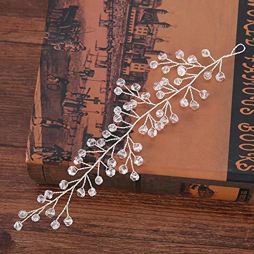 Littlefairy Braut Haarschmuck,Braut Hochzeit Diamant Kopfschmuck Haar Gürtel Schmuck Brautkleid Zubehör 19 * 5cm