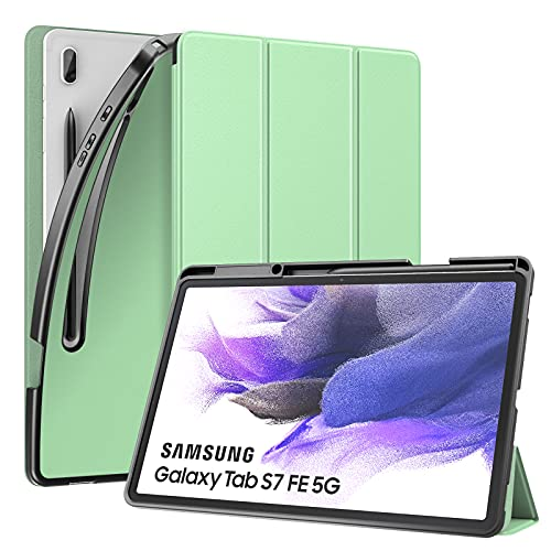 MoKo Custodia Protettiva per Tablet, Compatibile con Samsung Galaxy Tab S7 Fe 12.4' 2021/Tab S7+ 2020, Copertina con Chiusura Magnetica, Retro Morbido con Fessura e Apertura Precise per S-Pen, Verde