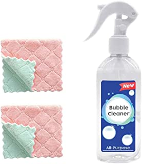 Grease Police Magic Degreaser with 2 Towels Elaco Bubble Cleaner Concentrated Degreaser and Cleaner Spray for Kitchen, Bathroom, and More - Mildew Remover and Tile Cleaner