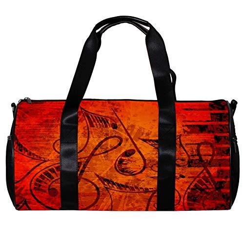 Runde Sporttasche mit abnehmbarem Schultergurt, romantisches Klavier und Cello, Musiknoten-Training, Handtasche, für Damen und Herren