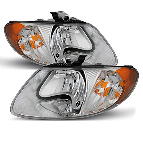 For Chrysler Town & Country OE Replacement Chrome Bezel Headlights Driver/Passenger Head Lamps Pair New