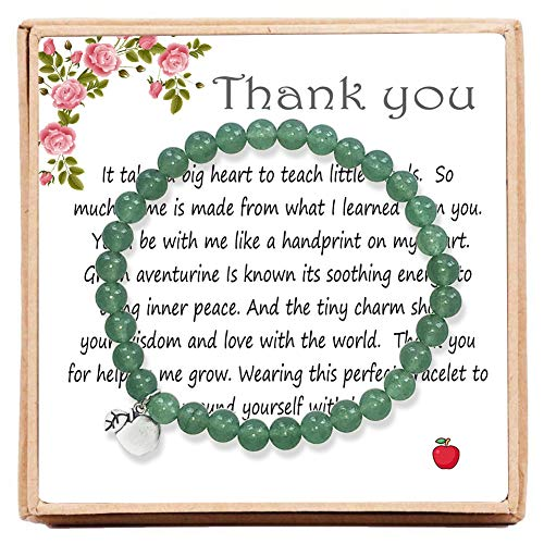OFGOT7 Thank You Gifts for Women – Bead Bracelet with Thank You Cards Message Card & Gift Box - Teacher Appreciation Gifts