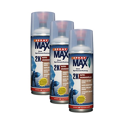 3X KWASNY 680 031 SPRAYMAX 2K Rapid-Grundierfüller grau 400ml