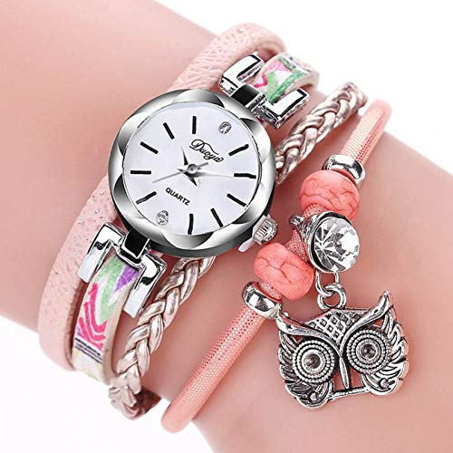 DMUEZW Multicolor Geflochtene Lederarmbänder Antik Silber Eule Anhänger Armband Uhren Für Frauen Mädchen Armbanduhr
