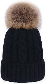 DELORESDKX Women Cashmere Blend Knit Fur Pom Beanie Hat Cap Faux Fur Pompom Ears