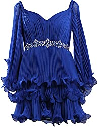 Rhinestone Bead Sash Pleat Blue Chiffon Short Dress Long Sleeves