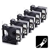 Wonfoucs Compatible Label Tape Replacement for DYMO Rhino Industrial 1/2' Heat Shrink Tubes Work with DYMO Rhino 4200 5200 6000 Label Makers, Black on White, 5-Pack DYMO 18055