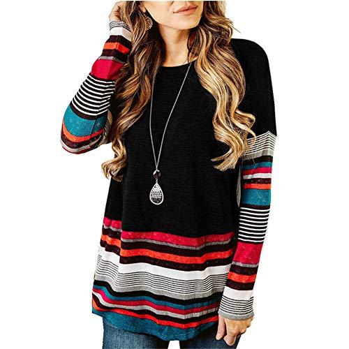 ZFQQ Otoño e Invierno Camisa de Manga Larga para Mujer Camiseta a Rayas con Cuello Redondo suéter de Talla Grande