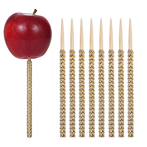 24ct Rhinestone Bling Bamboo Candy Apple Sticks 6 inch for Cake pop Chocolate Caramel Apple Skewers Buffet Party Favor Candy Making Accessories by Quotidian (Gold)