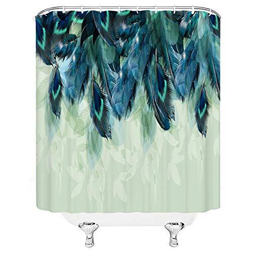 Aliyz Feder Duschvorhang blau Tierfeder abstrakt minimalistisch blau grün Badezimmer Gardinen Dekor Polyester Stoff Schnelltrocknende 72x72 Zoll enthalten Haken