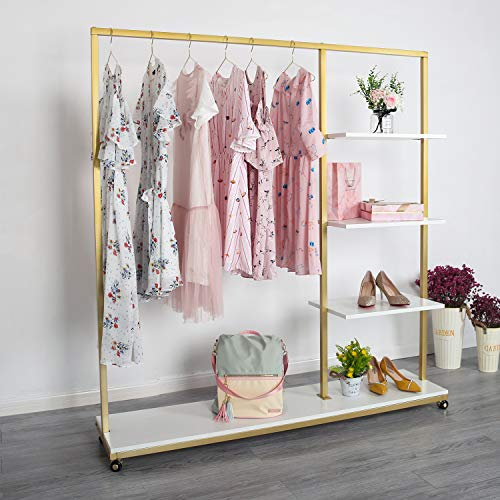 Gold Metal Clothing Rack on Wheels, Boutique Clothes Rack, Modern Display Garment Rack with Shelves for Retail Display (59' L)