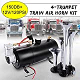 150DB Super Loud Train Horns kit for Trucks, 4 Air Horn Trumpet for Car Truck Train Van Boat, with 120 PSI 12V Compressor and Gauge (Dark Black)