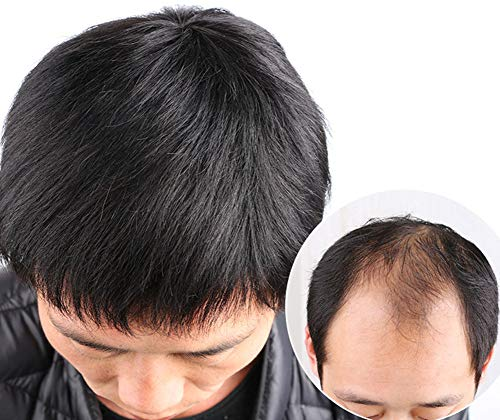 LE BI YOU Mens Natural Black Short Silky Straight 100% Real Human Hair Clip in Hair Toppers Hairpieces Toupee for Men with Grey and Thin Hair (16cmx18cm Machine Net with Silk Top Center)