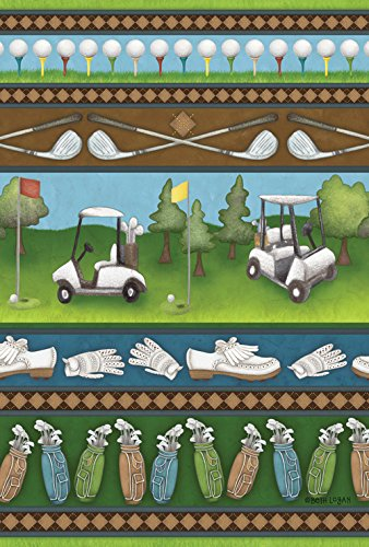 Toland Home Garden Country Club Collage 28 x 40 Inch Decorative Fun Sport Outdoors Golf Cart Club Ball Game House Flag
