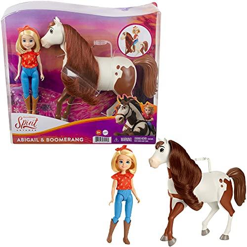 DreamWorks Spirit GXF23 - Spirit Abigail Puppe (18 cm) mit 7 beweglichen Gelenken & Pferd Boomerang (20cm) mit langer Mähne, tolles Geschenk für Kinder ab 3 Jahren