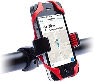 Master- Soporte Universal de Celular para Bicicleta, carreola y Motocicleta. Muy cómodo y práctico. Color Negro con Rojo y con una rotación de 360°
