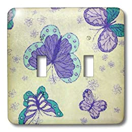 retro purple butterfly light switch cover