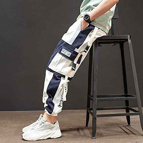 Harajuku Jogging Pantalones Hombres Streetwear Japonés Pantalones de Carga Militar Hip Hop Techwear Pantalones Pantalones para Correr para Ropa Coreana Masculina-Blanco_Metro