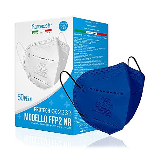 KARAEASY Mascherine Ffp2 Certificate CE Made In Italy 5 strati Blu 50 Pz